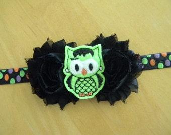 Halloween frankenowl shabby flower baby/toddler headband