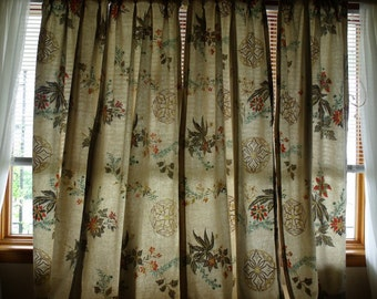 SALE Limited Time - Antique Art Deco Style Floral Window Drapes / Cream Color with Gold Sparkle / Two Pairs