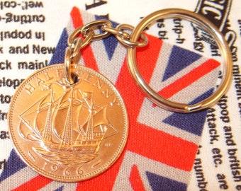 1966 Ha'penny Old Half Penny English Coin Keyring Key Chain Fob Queen Elizabeth II