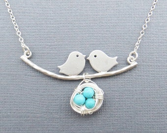 Family Bird Necklace, Bird Nest Necklace, Bird Necklace, Mom and Baby Bird, Necklace for Mom, Gift for Best Friend, Mom to Be Gift