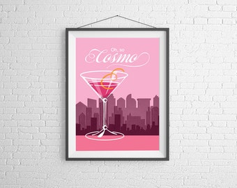 Cocktail Art - Cosmo Wall Art - Illustration - Cocktail Illustration - Cosmopolitan Cocktail - Bar Decor - Home Decor - Bar Art