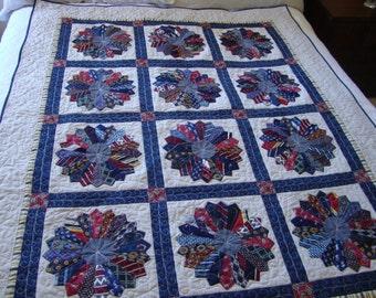 Memorial quilt made from men's ties