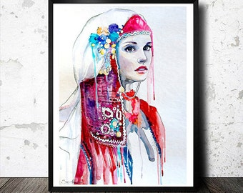 Original Watercolour Painting-  Bulgarian national costume watercolor