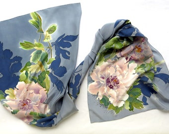 silk scarf Peony. Hand painted silk scarf, blue, gray, green, pink hand painted scarf silk. Flowers Peony. Floral silk scarf
