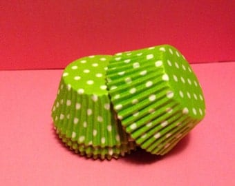 75 count - Grease Resistant Lime Green with White Polka dots standard size cupcake liners/baking cups