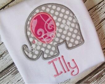 Personalized Baby Girls Monogrammed Elephant Applique bodysuit Great Baby Gift FREE MONOGRAM