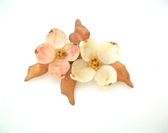 Celluloid Brooch, Celluloid Pin, Celluloid Seashell, Seashell Brooch, Seashell Pin, Vintage Seashell Brooch, Vintage Seashell Pin, Dogwood