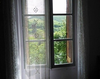 Curtain Lace Filet Crochet Panel Extra Long Handmade French Vintage