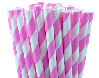 25 Pink Stripes Paper Straws-7.75 Inches-Party Straws-Shower-Wedding-Party-Biodegradable