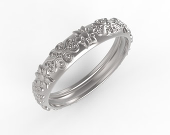 14kt White gold Antique style wedding band , wedding band women white gold, Ring wedding woman
