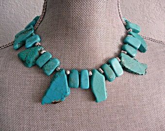 Turquoise Slab Bead Necklace // Artisan Necklace
