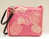 Pink Crocheted Freeform Swirl Tote Pattern