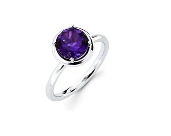 14K White Gold Amethyst Ring, White Gold Ring, Amethyst Ring, Promise Ring, Fancy Ring, Fashion, Amethyst