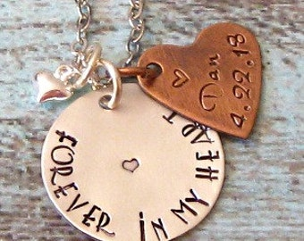 Forever in my Heart Personalized Hand Stamped Sterling Silver Remembrance Necklace