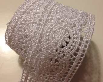 White Lace Ribbon (1 1/2 inches x 6 feet), lace ribbon, 1.5 inch lace ribbon, wide lace ribbon, lace
