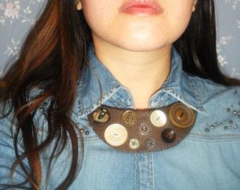 Brown faux Stingray Skin Bib Necklace with Button detail