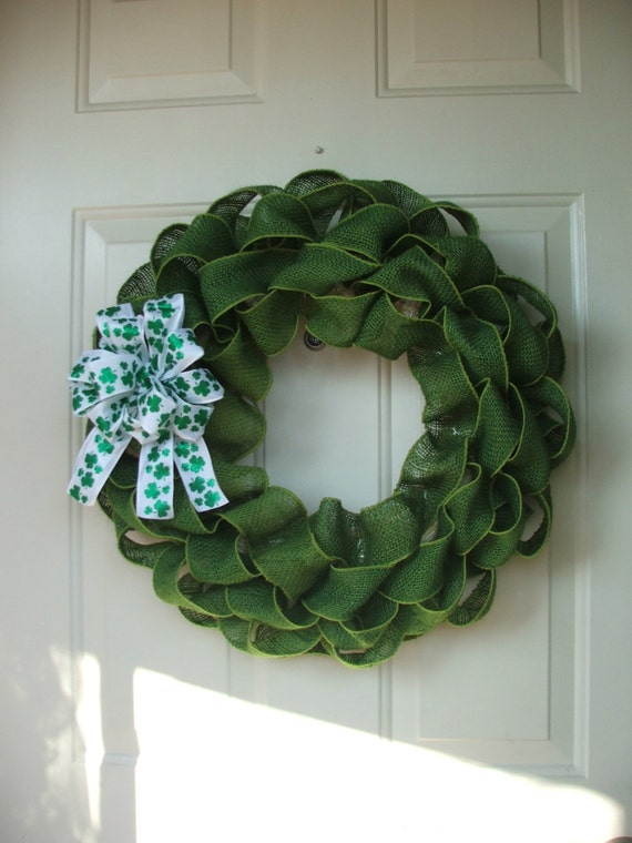 St. Patricks Day Burlap Wreath with Shamrock Bow