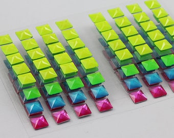 8mm Stick on Fluorescent Assorted Colors Self Adhesive Low Pyramid Gems Sticker Pack - 160 Pieces