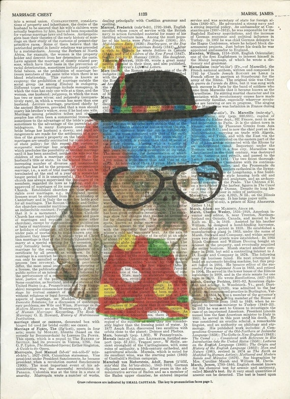 Illustration of Cute Clown Puppy Dictionary Art Print on Upcycle Vintage Page Book Print Art  Print Collage Print