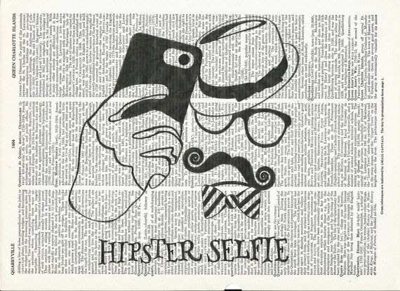 Illustration of Hipster Selfie on Upcycle Vintage Page Dictionary Art Print Book Print Art Print Collage Print
