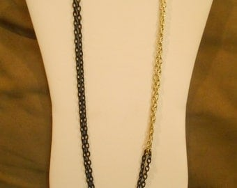 30 inch long Black and Gold Double Chain Asymmetrical Necklace