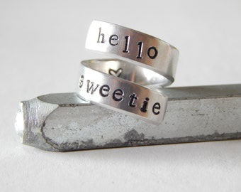 Hello Sweetie -  Aluminum  Spiral Ring - Doctor Who Inspired, Gift Under 20