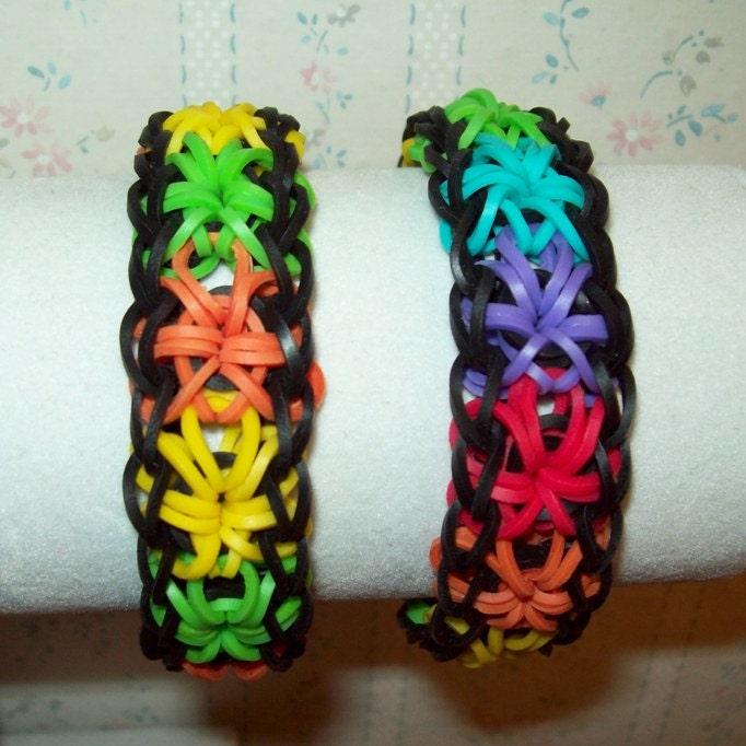 rainbow loom all around starburst rubber band bracelet 2