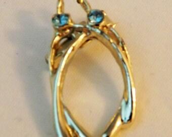 Vintage silver tone double wishbone brooch blue topaz stones March birthstone brooch pin
