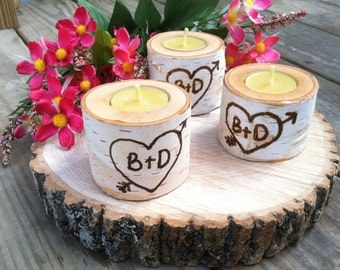 Set of 20 personalized Birch tea light candle holders