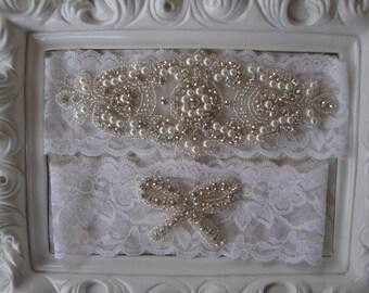Wedding Garter - Bridal Garter - Pearl and Crystal Rhinestone Garter and Toss Garter Set