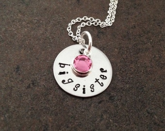 Big Sister Necklace, Gift for New Sister, Birthstone Necklace, Hand Stamped Jewelry, Stamped, Swarovski crystal , handstamped, kids jewelry
