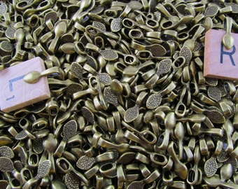 50 Teardrop Bails - Antique Bronze Color - 16mm - Small Glue On Bails - For Scrabble and Glass Pendants - 5/8 x 1/4 inch 16mm x 5mm