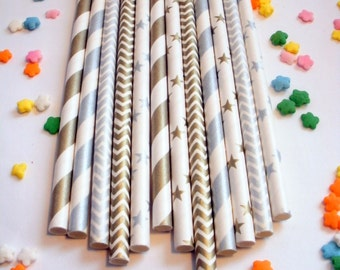 50 Shimmering Gold and Silver Metallic Paper Straws