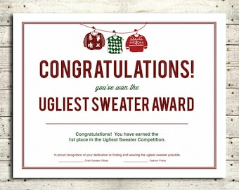 Ugly christmas sweater award certificate template cardigan with ugly christmas sweater award certificate template 102 yelopaper Gallery