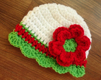 Crocheted Baby Girl Christmas Hat with Flower and Rufle Edging ~  White, Bright Red, Spring Green ~ Newborn to 5T - MADE TO ORDER