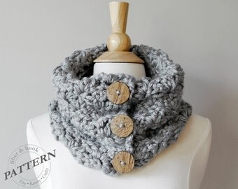 CROCHET PATTERN - Newcastle Chunky Button Cowl, Crochet Cowl Pattern, Easy Crochet, Chunky Scarf (Toddler, Youth, Adult sizes) pdf #028S