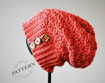 CROCHET PATTERN - Surrey Slouch Beanie, Slouchy Button Hat, Ribbed Brim, Easy Crochet (Toddler, Youth, Adult Sizes) pdf #030H