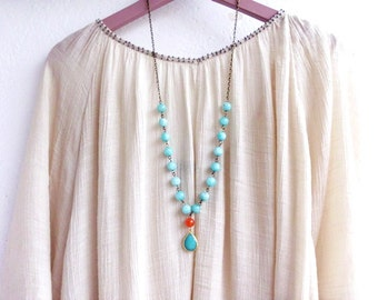 Colorful Bead Strand Necklace Long Gemstone Necklace