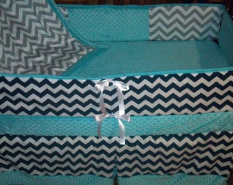 TODAY ONLY***Gray and White/Navy and White Chevron and aqua minky crib bedding set