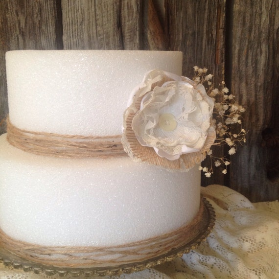 Rustic Chic Wedding Cakes: Items Similar To Burlap Wedding Cake Flowers, 1 Rustic