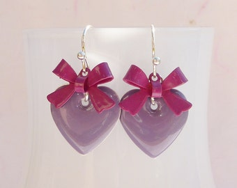 Enamel earrings heart and bow purple