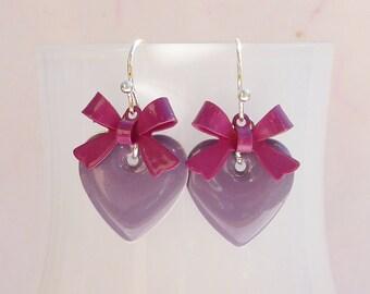 Enamel earrings heart and bow purple