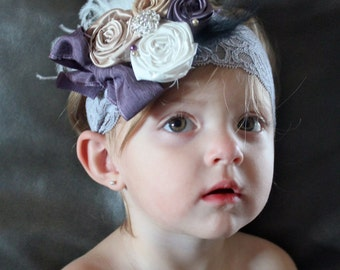 Silk and Satin Flower Rosettes on Lace Headband - Great with a Vintage Petti Ruffle Romper