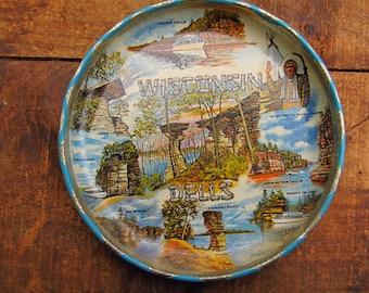 Vintage Wisconsin Dells Souvenir Miniature Tray