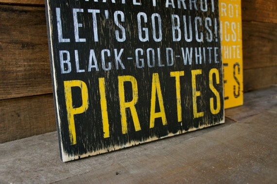 Pittsburgh Pirates Distressed Wood Sign--Great Father's Day Gift!