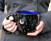 28oz Starry Night Mug - Moon and Stars Black Yellow White Cobalt - Coffee Tea Latte Soup Winter Gift - Hand Painted - Made To Order