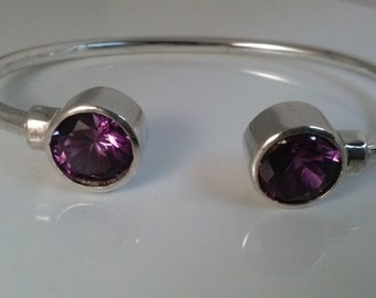 Silver  Bracelet  Lavender handmade with Sterling  Silver and   Zirconia. Cuff  Bangle. Handcrafted Jewelry. Fashion Jewels