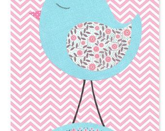 Pink and Aqua Nursery Art Print Bird Zig Zag Chevron Girl's Room Decor Children Baby Shower Gift 8 x 10 or 11 x 14 Paper or Canvas Print