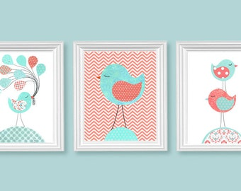 Aqua and Coral Nursery Art, Bird Nursery Decor, Balloons, Stacked Birds, Girl's Room Decor, Playroom Wall Art, Baby Shower Gift, Toddler