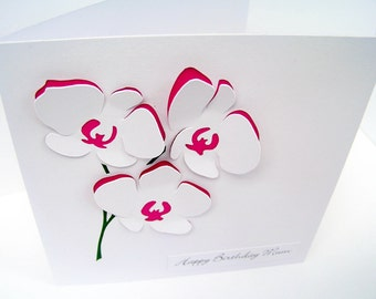 Orchid Card - Flowers - Personalised Card - Mother's Day Card - Birthday Card - Thank You Card - For Her, Mum, Mom, Wife, Girlfriend, Sister